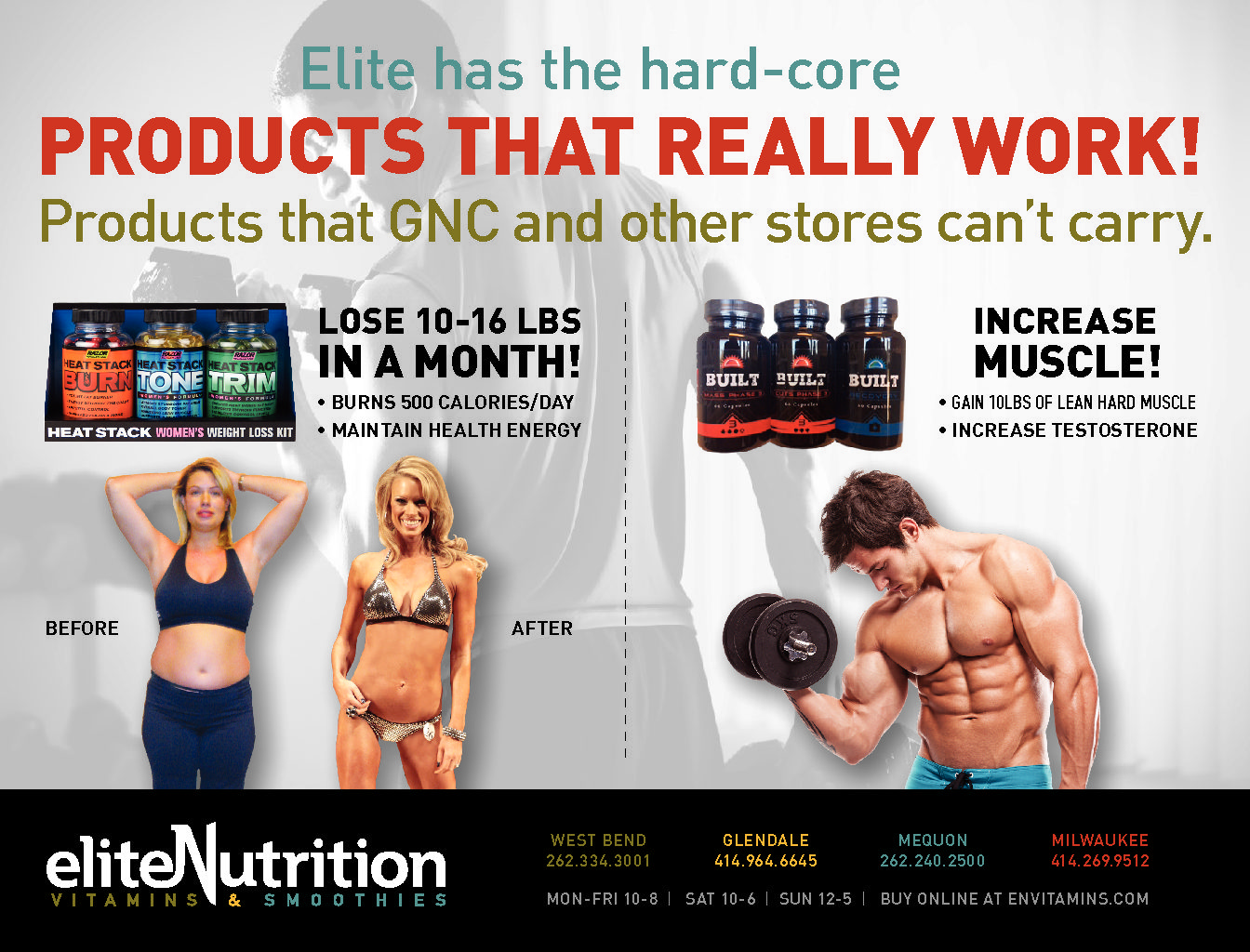Elite Nutrition can sell the hard-core supplements that other stores cannot!